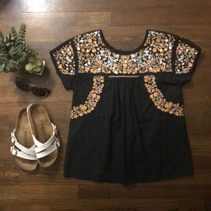 Madewell Embroidered Top, size S